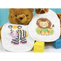 "Baby Hugs Baby Express Bibs Stamped Cross Stitch Kit-9""X14"" Set Of 2"