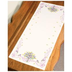 "Violets Nosegay Dresser Scarf Stamped Embroidery-14""X39"""