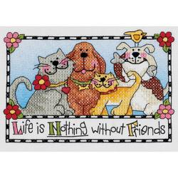 """Life Is Nothing Without Friends Mini Stamped Cross Stitch Ki-7""""X5"""""""