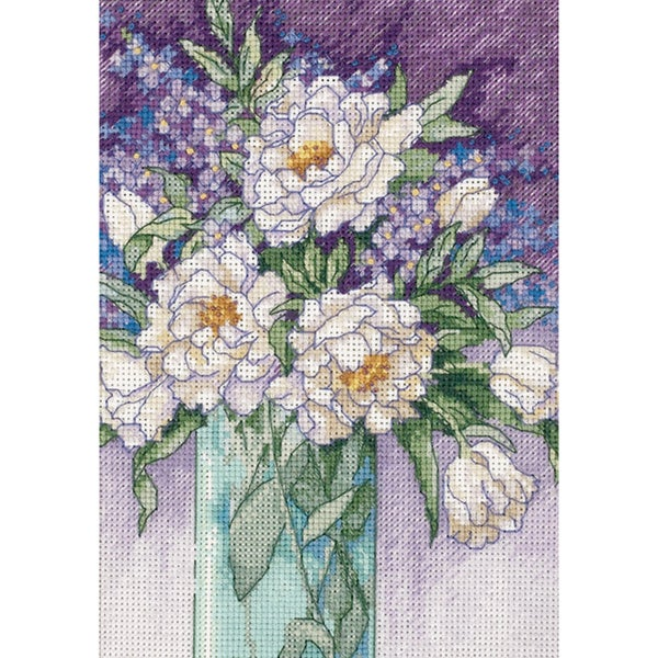 """Gold Collection Petite White Peonies Counted Cross Stitch Ki-5""""X7"""""""