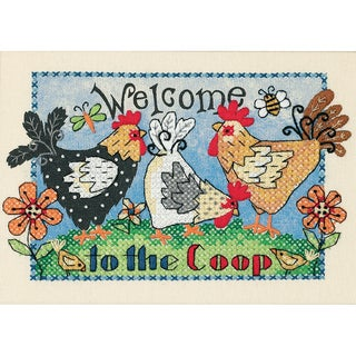 "Welcome To The Coop Mini Stamped Cross Stitch Kit-7""X5"""