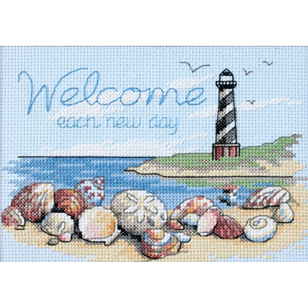 "Welcome Each New Day Mini Counted Cross Stitch Kit-7""X5"""