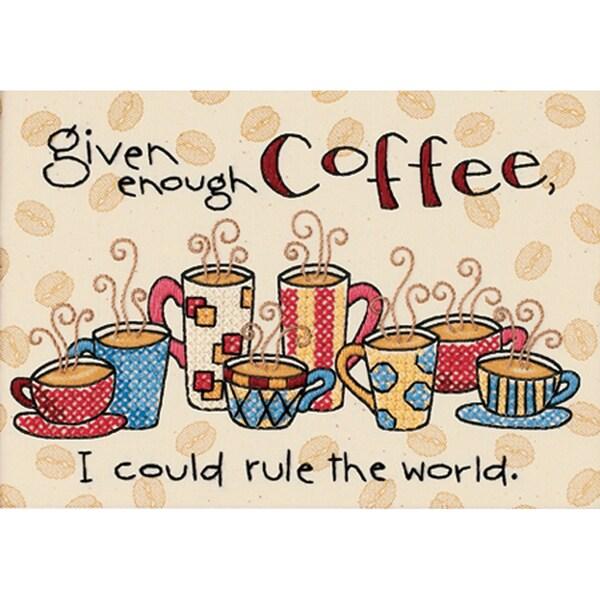 "Enough Coffee Mini Stamped Cross Stitch Kit-7""X5"" 9159547"