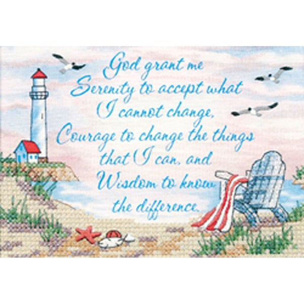 "Serenity Prayer Mini Stamped Cross Stitch Kit-7""X5"" 9159551"