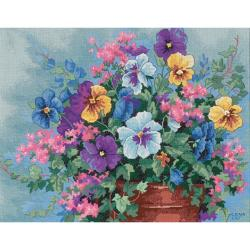 "Pansy Profusion No Count Cross Stitch Kit-14""X11"""