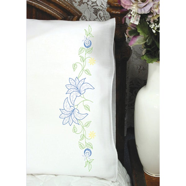 Stamped Perle Edge Pillowcase 2/Pkg-Lilies On Vine