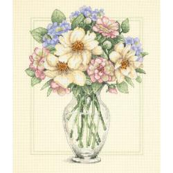 """Flowers In Tall Vase Counted Cross Stitch Kit-12""""X14"""""""