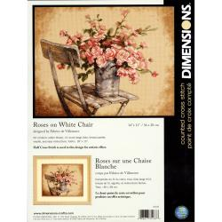 "Roses On White Chair 14"" x 11"" Counted Cross Stitch Kit"