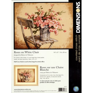 """Roses On White Chair 14"""" x 11"""" Counted Cross Stitch Kit"""