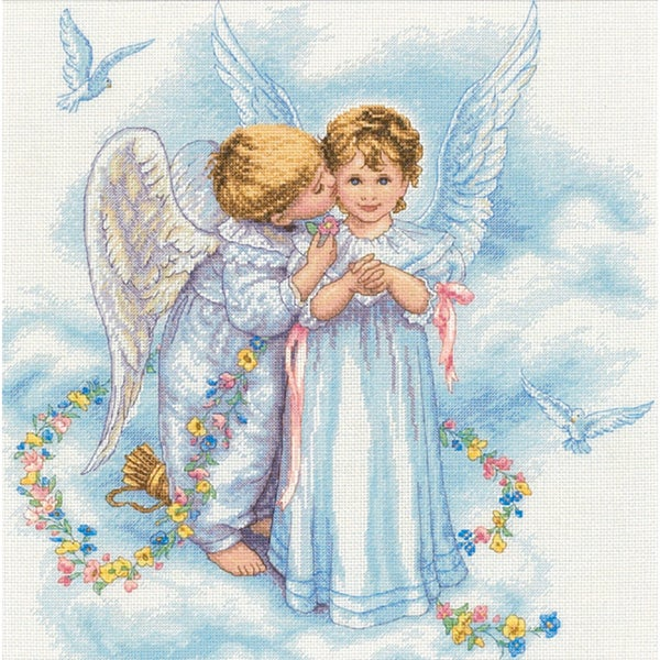 "Angel Kisses Counted Cross Stitch Kit-12""X12"" 9159599"