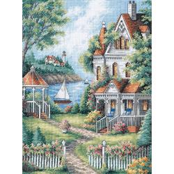 "Gold Collection Cove Haven Inn Counted Cross Stitch Kit-11""X14"""
