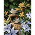 "Chickadees & Lilies Needlepoint Kit-11""X14"" Stitched In Yarn & Floss"