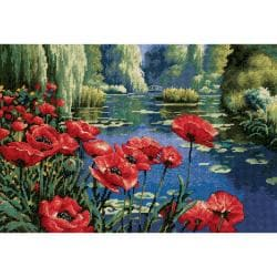 """Lakeside Poppies Needlepoint Kit-16""""X11"""" Stitched In Thread"""