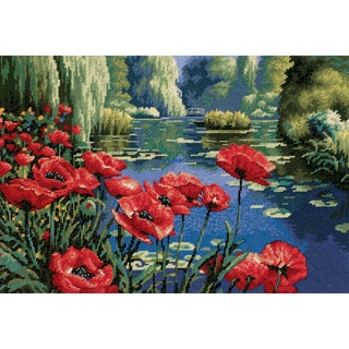 "Lakeside Poppies Needlepoint Kit-16""X11"" Stitched In Thread"