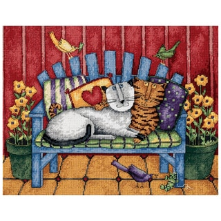 """Porch Cats Needlepoint Kit-14""""X11"""" Stitched In Thread"""