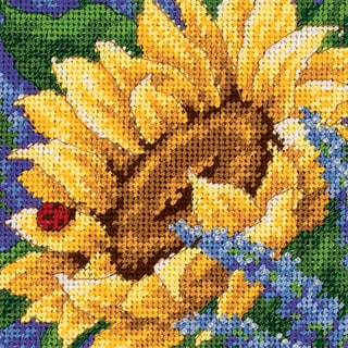 "Jiffy Sunflower And Ladybug Mini Needlepoint Kit-5""X5"" Stitched In Thread"