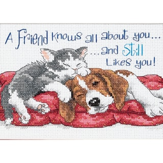 "Jiffy A Friend Knows Mini Counted Cross Stitch Kit-7""X5"""
