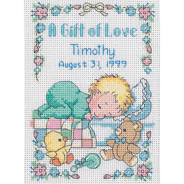 "Jiffy A Gift Of Love Birth Record Mini Counted Cross Stitch -5""X7"""