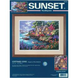 "Cottage Cove Needlepoint Kit-16""X12"" Stitched In Yarn"