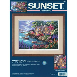 """Cottage Cove Needlepoint Kit-16""""X12"""" Stitched In Yarn"""