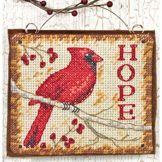 """Hope Ornament Counted Cross Stitch Kit-4-1/4""""x3-3/4"""" 14 Count"""
