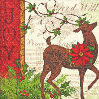 """Gold Collection Winter Reindeer Counted Cross Stitch Kit-12""""X12"""" 18 Count"""