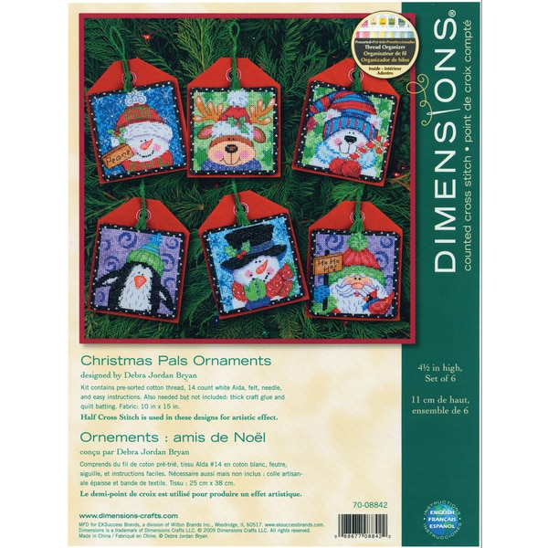"Christmas Pals Ornaments Counted Cross Stitch Kit-4-1/2"" Tall Set Of Six 9159859"