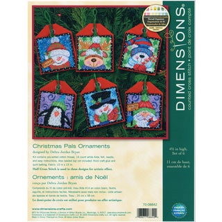 """Christmas Pals Ornaments Counted Cross Stitch Kit-4-1/2"""" Tall Set Of Six"""