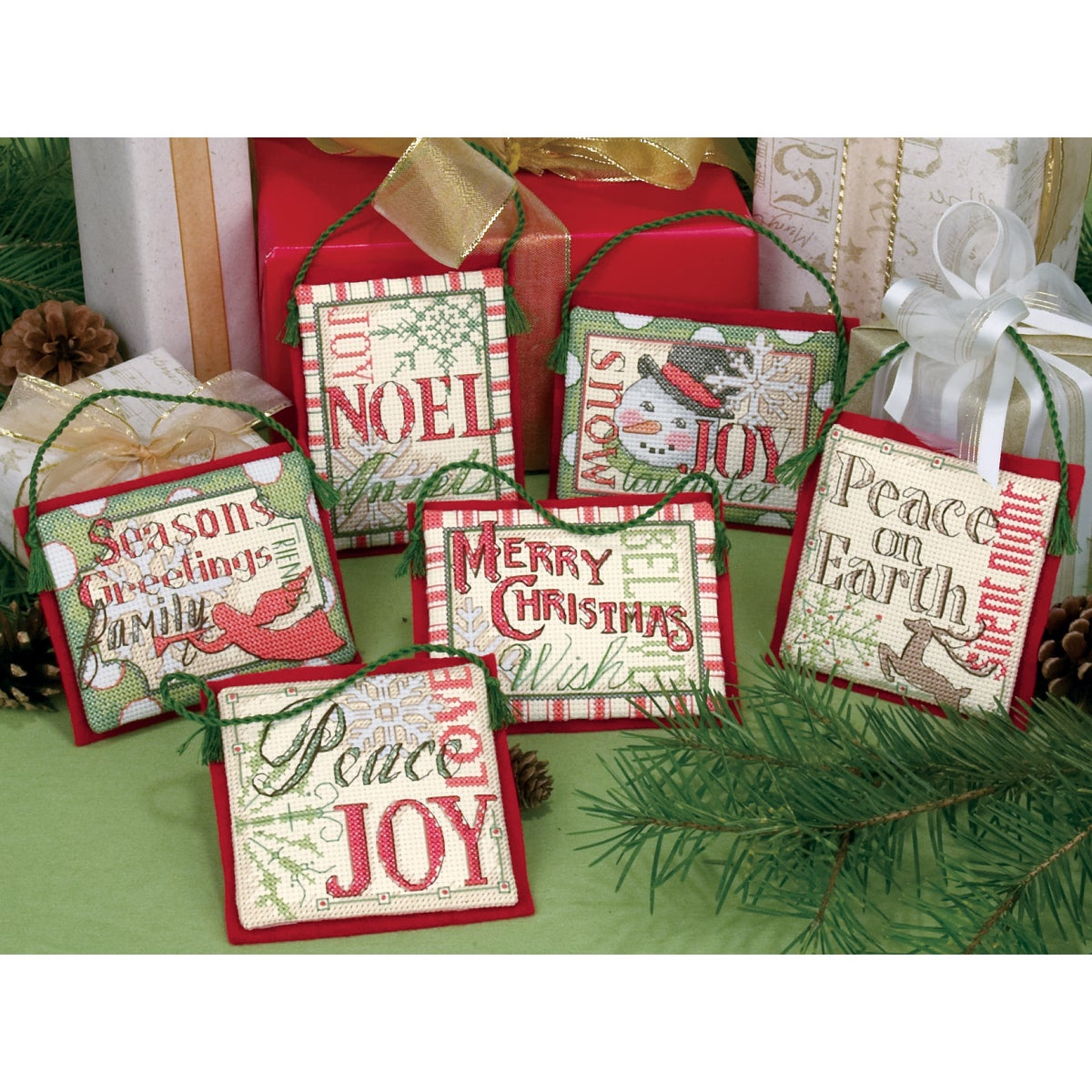 """Christmas Sayings Ornaments Counted Cross Stitch Kit-Up To 4"""" Set Of Six"""