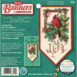 Banners Cardinal Joy Mini Counted Cross Stitch Kit-10
