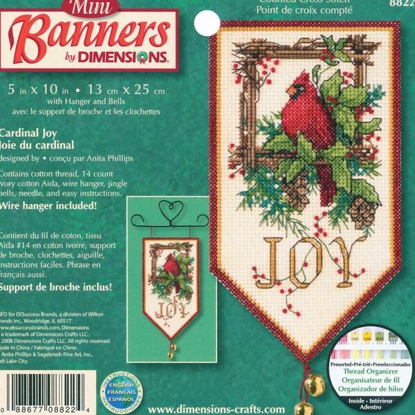 """Banners Cardinal Joy Mini Counted Cross Stitch Kit-10"""" Long 9159875"""