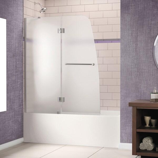 DreamLine Aqua 48x58 Inch Frameless Hinged Tub Door 14298924