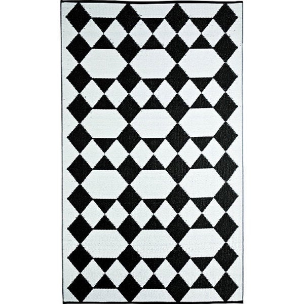 b.b.begonia Monte Carlo Reversible Design Black and White Outdoor Area Rug (4' x 6')