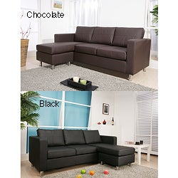 Furniture of America Exquisite Leather Bonded Interchangeable Sectional Sofa with Ottoman
