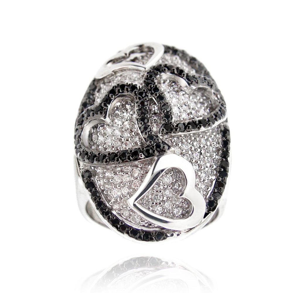 Icz Stonez Silvertone Black and White Cubic Zirconia Oval Heart Ring