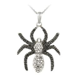 DB Designs Sterling Silver Black Diamond Accent Spider Necklace