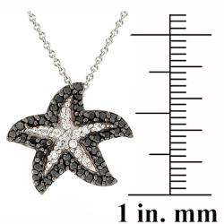 Icz Stonez Rhodium-plated 3/4ct TGW Black/ White CZ Starfish Necklace