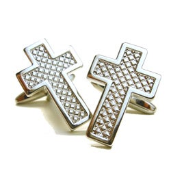 Rhodium Plated Cross Cuff Links