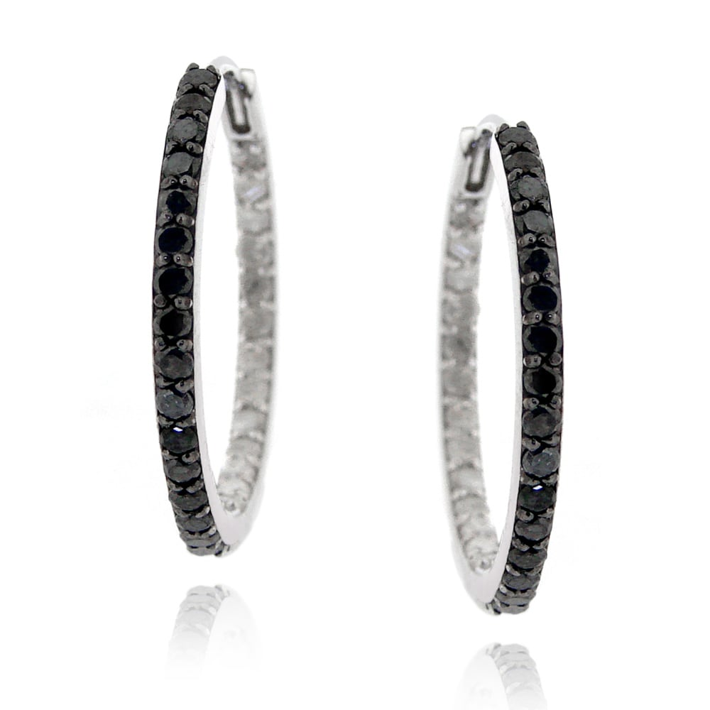 DB Designs Sterling Silver 1ct TDW Black and White Diamond Hoop Earrings