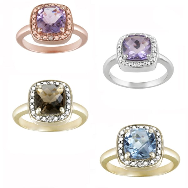 Glitzy Rocks Sterling Silver Gemstone and Diamond Accent Square Ring 9160727