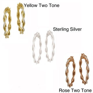 Mondevio Two-tone Gold over Silver Diamond-cut Hoop Earrings