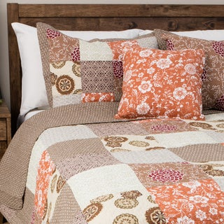 Oversized Stella Multicolor 100-percent Cotton 3-piece Patchwork Quilt Set