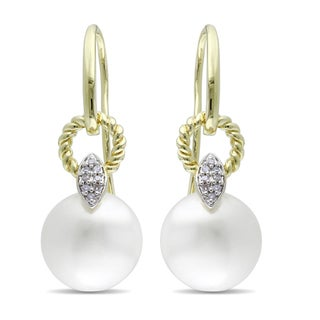 Miadora 10k Yellow Gold Pearl and Diamond Accent Earrings (G-H, I1-I2)