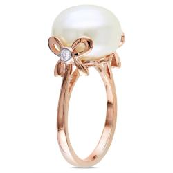 Miadora 10k Pink Gold Pearl and Diamond Accent Ring (G-H, I1-I2)