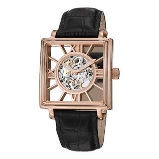 Stuhrling Original Men's 'Winchester Square' Leather Strap Watch