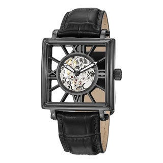 Stuhrling Original Men's 'Winchester Square' Black-Bezel Leather-Strap Watch