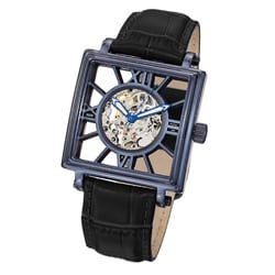 Stuhrling Original Men's 'Winchester Square' Blue-Bezel Leather-Strap Watch