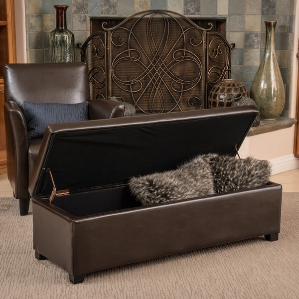 Christopher Knight Home Lucinda Brown Bonded Leather Storage Ottoman Bench