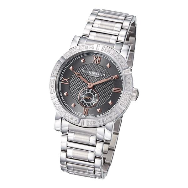 Stuhrling Original Men's Swiss Quartz Gunmetal-Dial Diamond Bracelet Watch