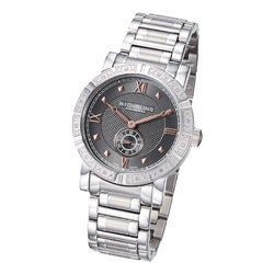 Stuhrling Original Men's Swiss Quartz Gunmetal-Dial Diamond Bracelet Watch